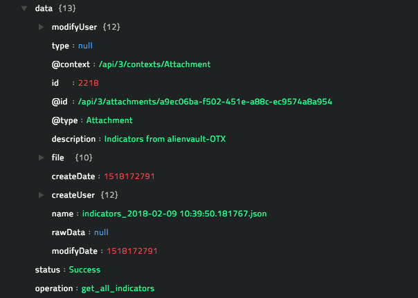 Sample output of the Get All Indicators Details: Export in JSON True operation