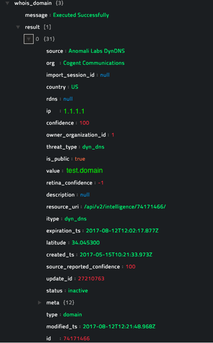 Sample output of the Get Whois Domain Information operation