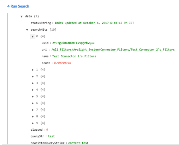 Sample output of the Run Search operation