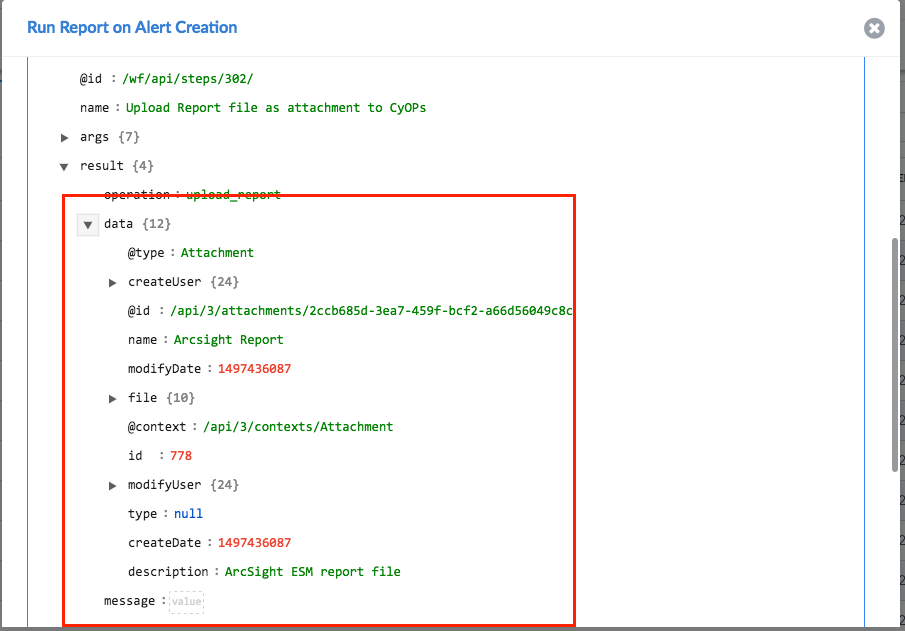 Sample output of the Upload Report file as attachment to CyOps operation