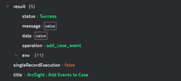 Sample output of the Add Events to Case operation