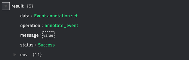 Sample output of the Annotate Event operation