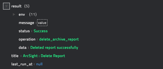 Sample output of the Delete Report operation