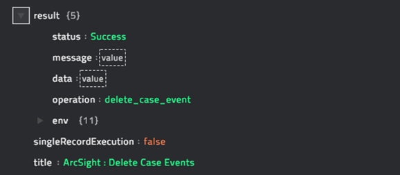 Sample output of the Delete Events from Case operation