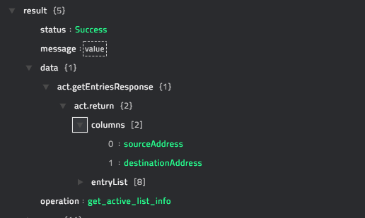 Sample output of the Get Active List Information operation