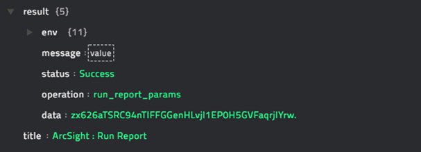 Sample output of the Run Report operation