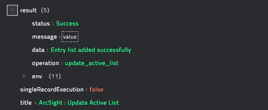Sample output of the Update Active List operation