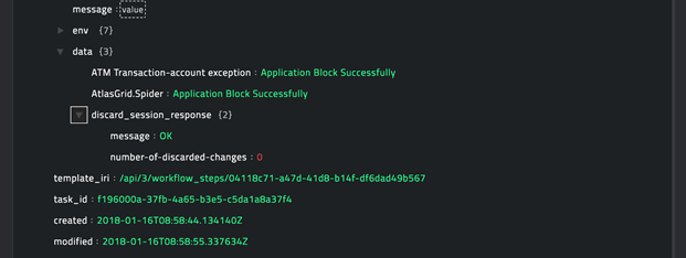 Sample output of the Block Applications operation