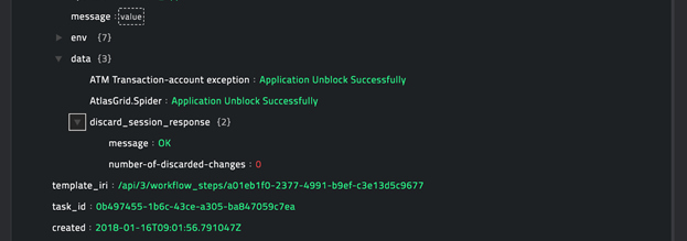 Sample output of the Unblock Applications operation