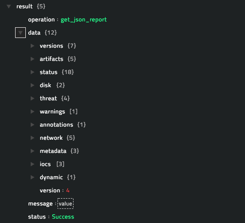 Sample output of the Get JSON Report operation