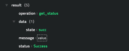 Sample output of the Get Status operation