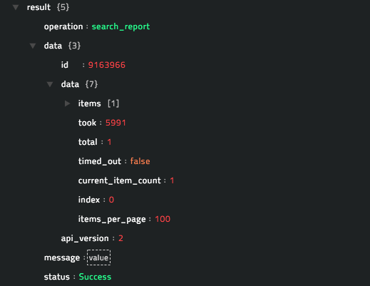 Sample output of the Search Report operation