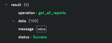 Sample output of the Get All Reports operation