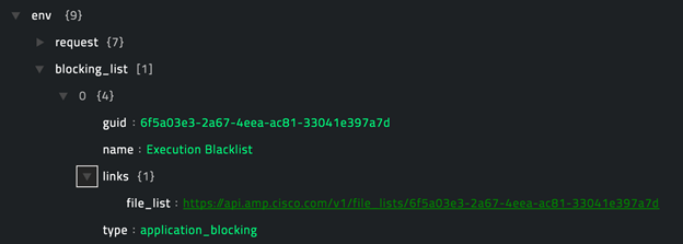 Sample output of the Get Application Blocking Filelist operation
