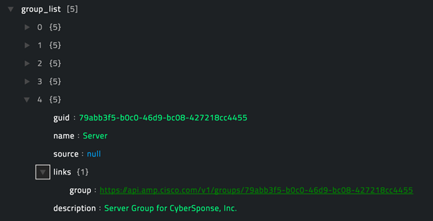 Sample output of the Get Group List operation