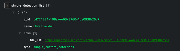 Sample output of the Get Simple Custom Detection Filelist operation