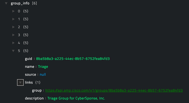 Sample output of the Get Specific Group operation