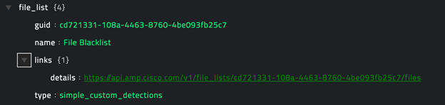 Sample output of the Get Specific Filelist operation