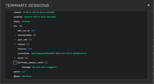 Sample output of the Terminate Sessions operation