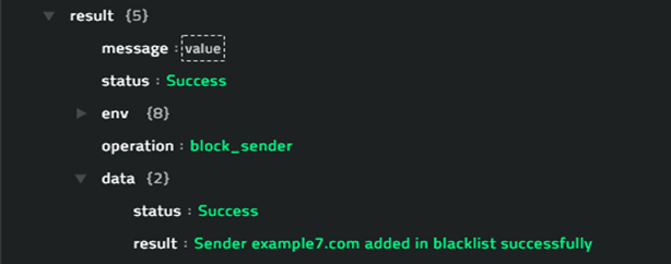 Sample output of the  Block Sender operation