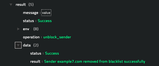 Sample output of the  Unblock Sender operation