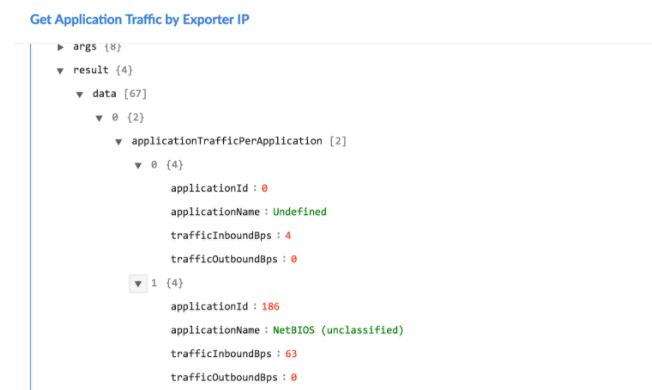 Sample output of the Get Application Traffic by Exporter IP operation