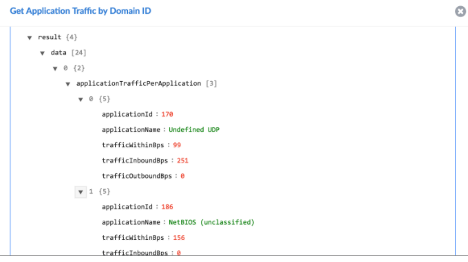 Sample output of the Get Application Traffic by Domain operation