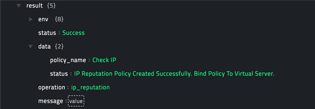 Sample output of the Create IP Reputation Policy operation