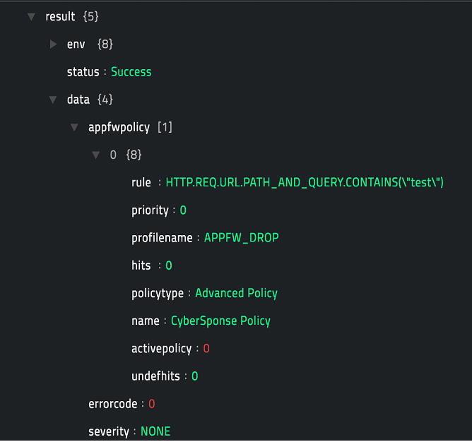 Sample output of the Get App FW Policy operation