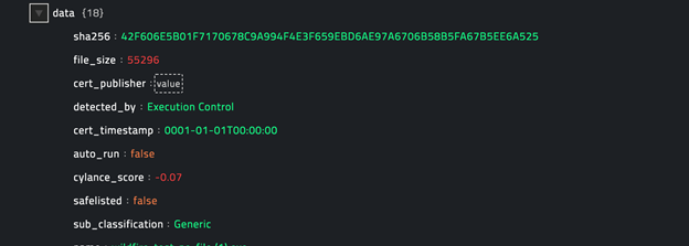 Sample output of the Get Threat Details operation