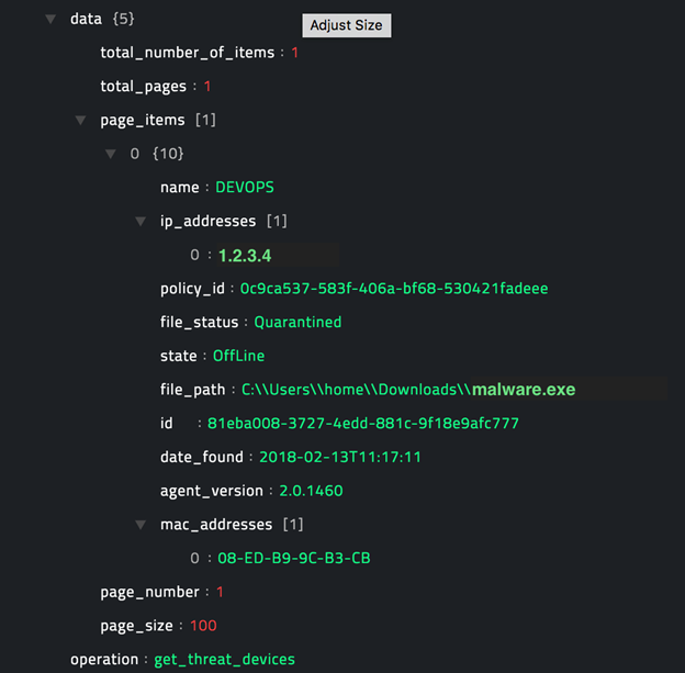 Sample output of the Get Threat Devices operation