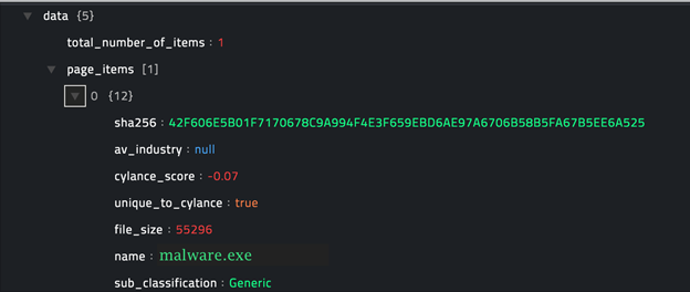 Sample output of the Get Threats operation