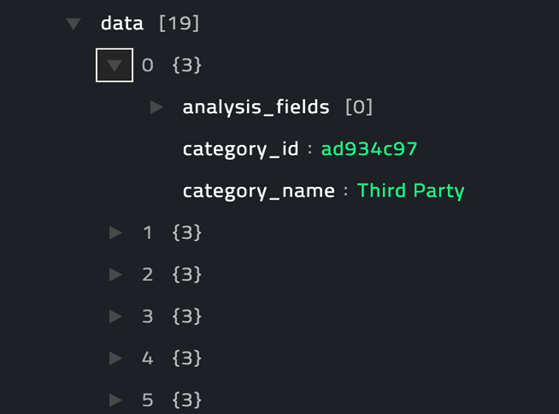 Sample output of the Get Alert Categories operation