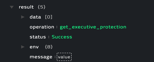 Sample output of the Get Get Executive Protection Details operation