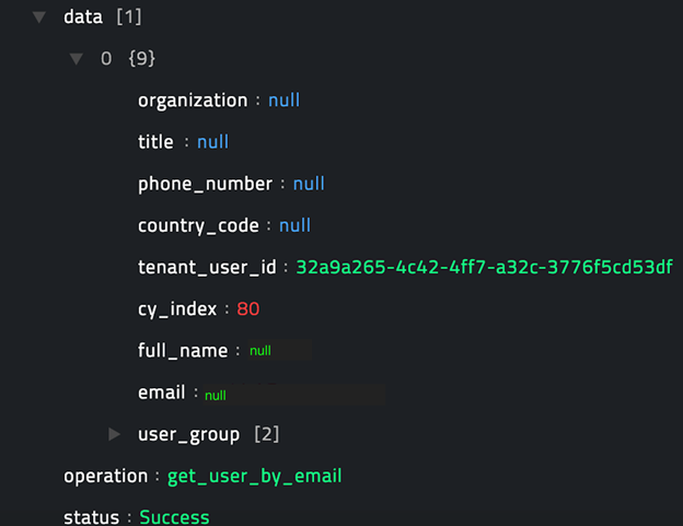 Sample output of the Get User by Email operation