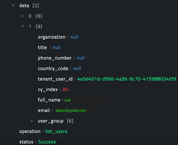 Sample output of the List Users operation