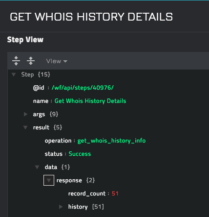 Sample output of the Get Whois History Details operation