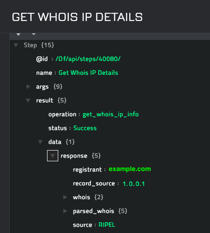 Sample output of the Get Whois IP Details operation