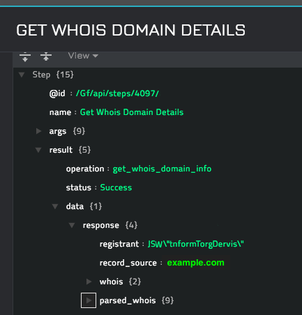 Sample output of the Get Whois Domain Details operation