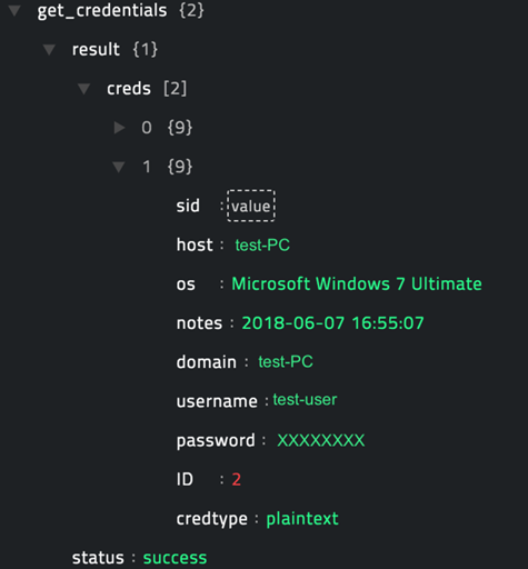 Sample output of the Get Credentials operation