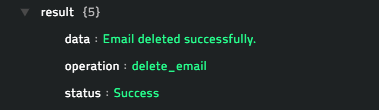 Sample output of the Delete Email operation
