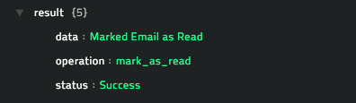 Sample output of the Mark Email as Read operation