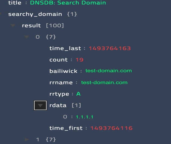 Sample output of the Search Domain operation