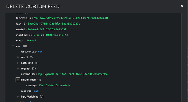 Sample output of the Delete Custom Feed operation
