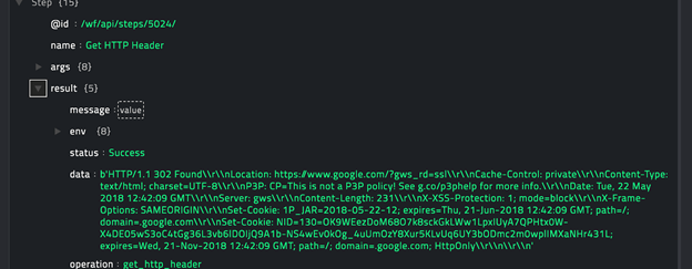 Sample output of the Get HTTP Header operation