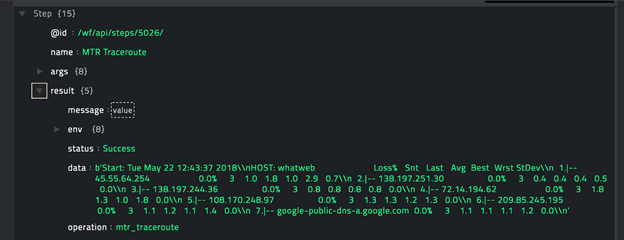 Sample output of the MTR Traceroute operation