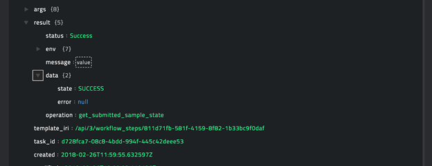 Sample output of the Get Submission State operation