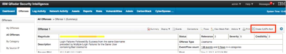 Offense Summary Toolbar - Create CyOPs alert button