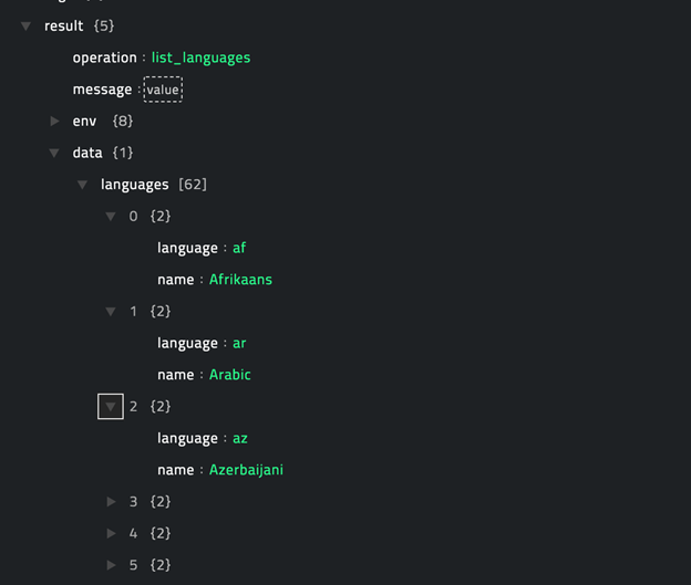 Sample output of the List Languages operation