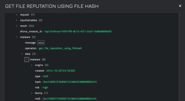 Sample output of the Get File Reputation using FileHash operation
